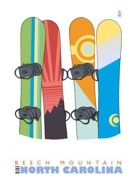 Beech Mountain, North Carolina, Snowboards in the Snow by Lantern Press