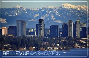 Bellevue, Washington - Lake Washington and Skyline by Lantern Press