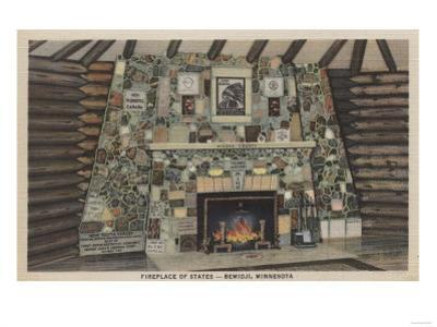 Bemidji, MN - View of the Fireplace of States by Lantern Press