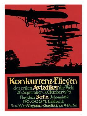Berlin, Germany - Konkurrenz-Fliegen Airfield Promotional Poster by Lantern Press