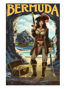 Bermuda - Pirate Pinup Girl by Lantern Press