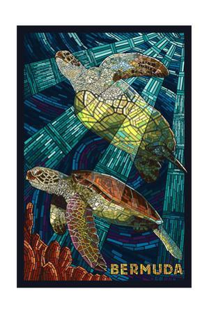 Bermuda - Sea Turtles Mosaic by Lantern Press