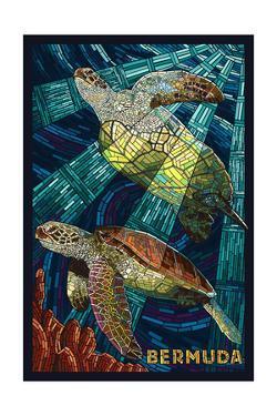 Bermuda - Sea Turtles Mosaic by Lantern Press