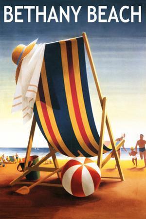 Bethany Beach, Delaware - Beach Chair and Ball by Lantern Press