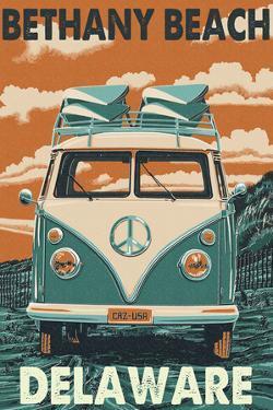 Bethany Beach, Delaware - VW Van by Lantern Press