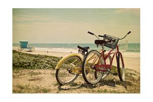 Bicycles and Beach Scene by Lantern Press