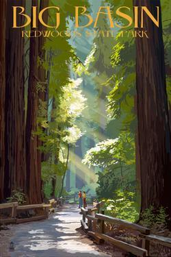 Big Basin Redwoods State Park - Pathway in Trees by Lantern Press