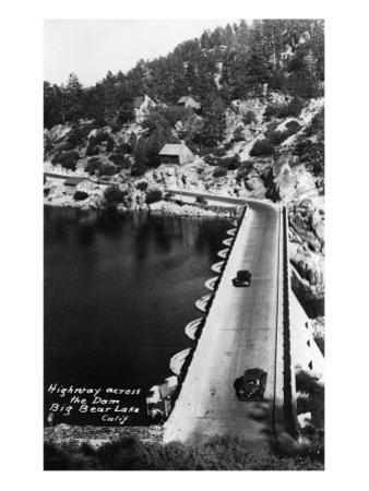 Big Bear Lake, California - View of Highway across the Dam