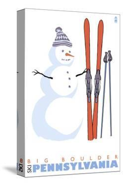 Big Boulder, Pennsylvania, Snowman with Skis by Lantern Press