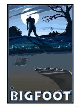 Big Foot walking through Golf Course by Lantern Press