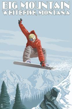 Big Mountain - Whitefish, Montana - Snowboarder Jumping by Lantern Press