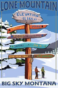 Big Sky, Montana - Lone Mountain - Ski Signpost by Lantern Press