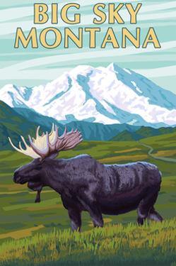 Big Sky, Montana - Moose and Mountain by Lantern Press