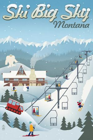 Big Sky, Montana - Retro Ski Resort by Lantern Press