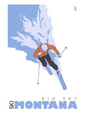 Big Sky, Montana, Skier Stylized by Lantern Press