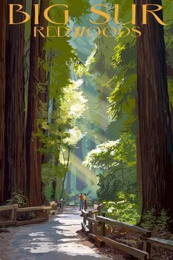 Big Sur, California - Pathway and Hikers by Lantern Press