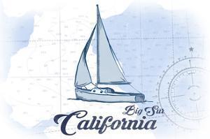 Big Sur, California - Sailboat - Blue - Coastal Icon by Lantern Press