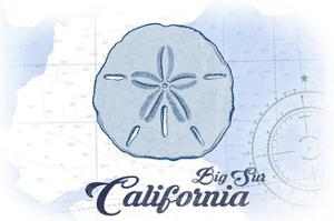 Big Sur, California - Sand Dollar - Blue - Coastal Icon by Lantern Press