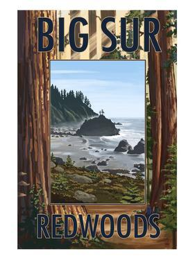 Big Sur, California - Trees and Ocean Scene by Lantern Press