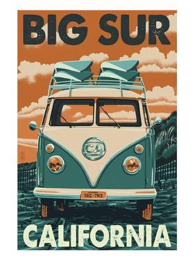 Big Sur, California - VW Van Blockprint by Lantern Press