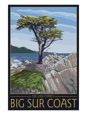 Big Sur Coast, California - Lone Cypress Tree by Lantern Press