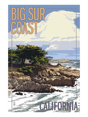 Big Sur Coast, California - View of Cypress Trees by Lantern Press