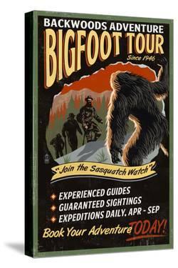 Bigfoot Tours - Vintage Sign by Lantern Press