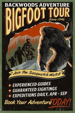Bigfoot Tours - Vintage Sign by Lantern Press