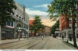 Binghamton, New York, Northern View down Chenango Street by Lantern Press