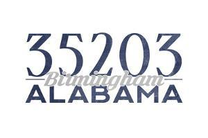 Birmingham, Alabama - 35203 Zip Code (Blue) by Lantern Press