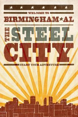 Birmingham, Alabama - Skyline and Sunburst Screenprint Style by Lantern Press