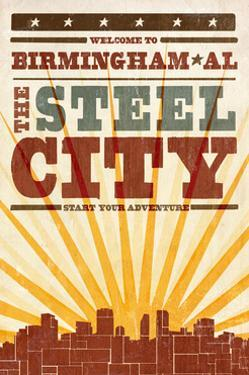Birmingham, Alabama - Skyline and Sunburst Screenprint Style by Lantern Press