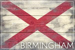 Birmingham, Alabama - State Flag - Barnwood Painting by Lantern Press