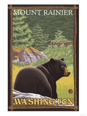 Black Bear in Forest, Mount Rainier, Washington by Lantern Press
