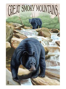 Black Bears Fishing - Great Smoky Mountains by Lantern Press