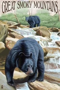 Black Bears Fishing - Great Smoky Mountains by Lantern Press