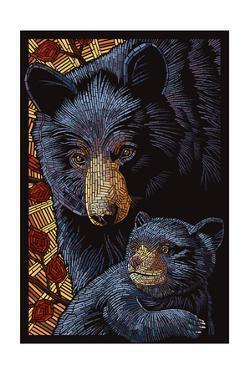 Black Bears - Paper Mosaic by Lantern Press