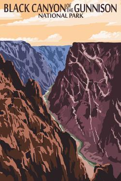 Black Canyon of the Gunnison National Park, Colorado - River and Cliffs by Lantern Press