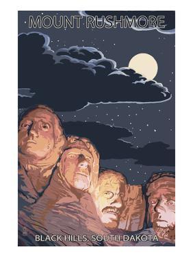Black Hills, South Dakota - Rushmore at Night by Lantern Press
