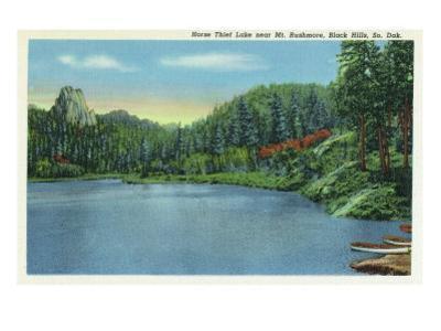 Black Hills, South Dakota, View of Horse Thief Lake near Mount Rushmore