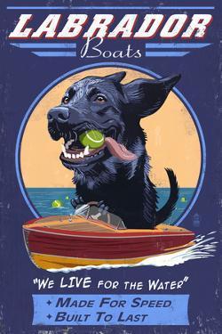 Black Labrador - Retro Boats Ad by Lantern Press
