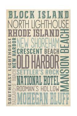 Block Island, North Carolina - Typography by Lantern Press