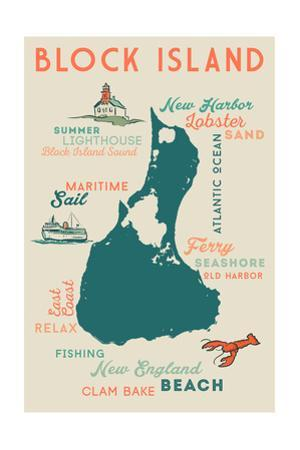 Block Island, Rhode Island and Icons by Lantern Press