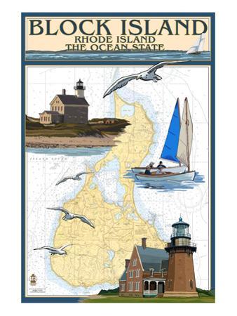 Block Island, Rhode Island - Nautical Chart by Lantern Press