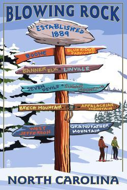 Blowing Rock, North Carolina - Ski Signpost by Lantern Press