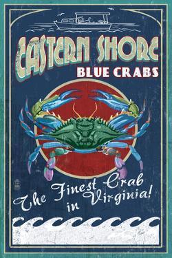 Blue Crabs Vintage Sign - Eastern Shore, Virginia by Lantern Press