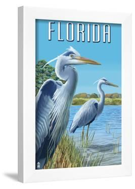 Blue Herons in Grass - Florida by Lantern Press