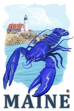 Blue Lobster & Portland Lighthouse - Maine by Lantern Press