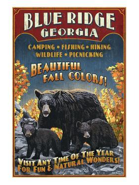 Blue Ridge, Georgia - Black Bear Family by Lantern Press