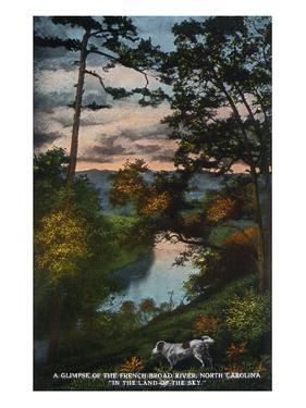 Blue Ridge Mountains, North Carolina - French Broad River Dusk Scene by Lantern Press
